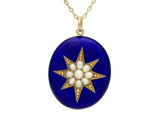 Enamel and Pearl 9ct Yellow Gold Locket Antique Circa 1890