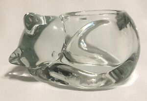 VINTAGE INDIAN GLASS SLEEPING CAT Clear Votive Candle Holder MADE IN USA