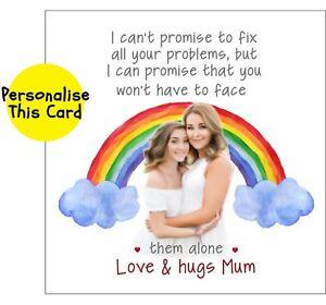 Lockdown Mother Daughter Sentimental Personalise Rainbow greetings card MUM LoVE