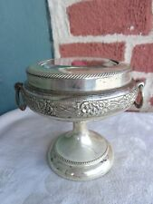 ANTIQUE VICTORIAN GLASS TOP SILVER PLATE PANSY FLORAL PEDESTAL JEWELRY CASE BOX
