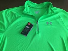 Under Armour Running mens heatgear fitted green 1/3 zip pullover, size Xl, Nwt