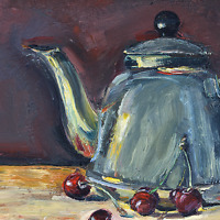 Steel Teapot and cherries - Still Life oil painting 7 x 10 inch