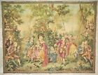 Large 19th c. French Aubusson Wall Tapestry Antique Verdure Ladies Gentlemen