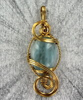 Aquamarine Gemstone Pendant Necklace in 14kt. Rolled Gold  14 carats