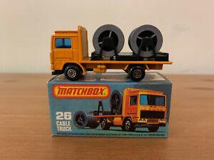 Matchbox Superfast 26 Volvo Cable Truck Rare Maltese Cross Wheels