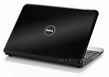 BLACK BRUSHED Vinyl Lid Skin Cover fits Dell Inspiron Mini 10 Netbook