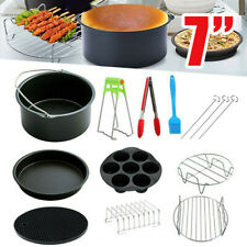 """13x 7"""" Air Fryer Frying Cage Dish Baking Pan Rack Pizza Tray Pot Accessories New"""