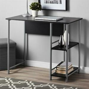 Basic Metal Student Computer Desk Small Office Desk With Shelves Black