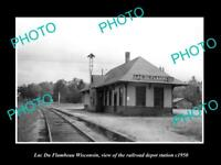OLD POSTCARD SIZE PHOTO OF LAC DE FLAMBEAU WISCONSIN THE RAILROAD DEPOT c1950