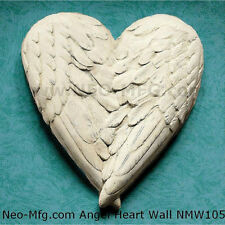 "Angel Wings HEART wall sculpture statue plaque 10"" home decor"