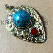 Turquoise Coral Antique Gold Brass Pendant Tibetan Nepalese Handmade Nepal PDS66
