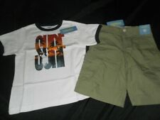 NEW Gymboree Kid Boy 5 BAJA SURF Ringer T Shirt Top Olive Cargo Shorts Set Beach