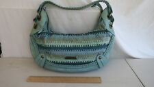 ISABELLA FIORE  Turquoise Teal LEATHER  Brass Studded  Handbag Purse