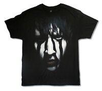 "MARILYN MANSON ""STRIPED FACE TOUR 2012 JUMBO PRINT"" BLACK T-SHIRT NEW OFFICIAL"