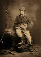 Antique Fishing Photo ... Man Holding Fly Fishing Rod ... Photo Print  5x7