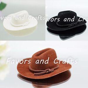 12 PCS Mini Cowboy Hats Western Wedding Party Favors Crafts Brown Black White