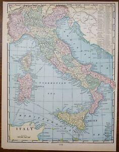 "Vintage 1902 ITALY Map 11""x14"" Old Antique Original CORSICA ROME SARDINIA SICILY"