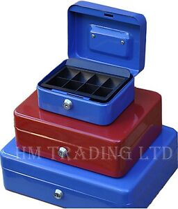 Metal Steel Petty Money Cash With Coin Tray Box Bank Safe Security Lock 2 Keys