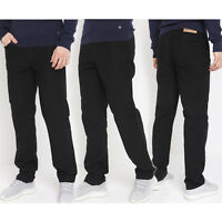 Mens Black Straight Trousers Ex Highstreet Casual Plain Black Regular Fit