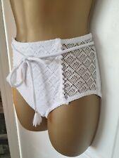 H&M High Waisted WHITE  Bikini Bottom crochet Size 10 BNWOTS