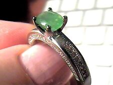 Deco COLOMBIAN emerald  SILVER RING 7.25 NATURAL STERLING 925 SOLITAIRE  delicat