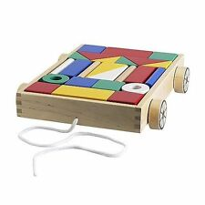 Ikea Mula 24 building blocks with wagon, Baby Toddler Wooden Toys