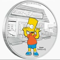 2019 Tuvalu THE SIMPSON'S - BART Colorized 1oz .999 Proof Silver Coin Box & COA