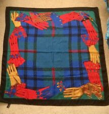 """Jane Shilton Glove Motif Scarf 100% Polyester 34"""" x 34"""" Square. Made In Italy"""