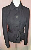 WHISTLES UK 14 BLUE LONG SLEEVE BUTTON UP NAVY BLUE  BELTED JACKET 52% LINEN