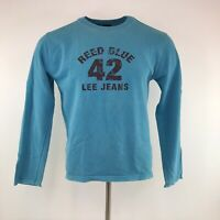 Retro Lee Jeans Sweatshirt Blue Spell Out Crew Neck Small Mens