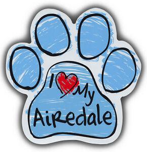 Zeichnen Pfote Hund Magnete: I Love My Airedale Terrier Auto, Kühlschränke