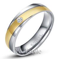 TT Gold Stripe S.Steel Wedding Comfort Band Ring Size 5-15 Mens & Womens (R130)