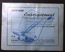 Carnet d'achats Entr'aide Enseignement. Puy-de-Dome. Vers 1960
