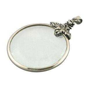 MAGNIFYING MAGNIFIER GLASS SILVER 925 NECKLACE 24 INCH CHAIN PENDANT BOXED