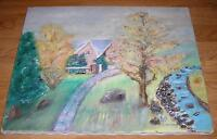 PRIMITIVE HOUSE STREAM AUTUMN GARDEN LANDSCAPE TREE GARDEN FOLK ART OIL PAINTING