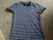 Fred Perry T Shirt Navy Striped Size XS