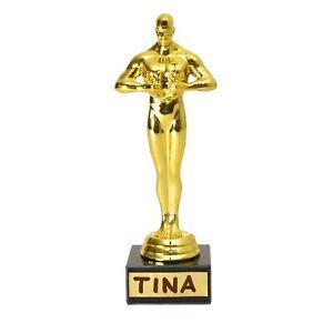 Dekoartikel Filmtrophäe mit 4 Gold-Stickern zum Beschriften Dekoobjekt Pokal