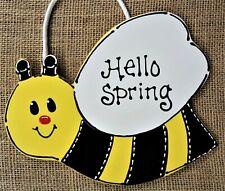 Bumblebee Hello Spring Sign Bee Plaque Family Decor Wall Door Seasonal Hanger