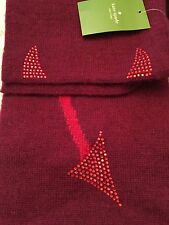 Kate Spade Speak of The Devil Red Wool Blend Fall Scarf NWT $178 SOLD OUT!