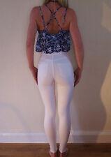 Porté une fois blanc pur Topshop Taille Haute Skinny Stretch JONI Jeans UK 6 W24 L28