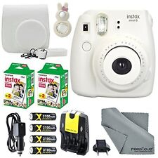 Fujifilm Instax Mini 8 White Camera and Deluxe Accessory Bundle with Instax M...