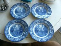 "Liberty Blue (4) 9 7/8"" Dinner plates Independance Hall England  Pristine"