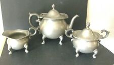 ANTIQUE FOOLE PEWTER TEAPOT WITH SUGAR AND CREAMER ACORN FINIALS CLASSIC