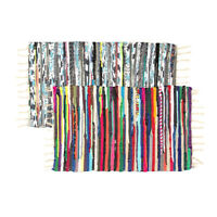 "2 Chindi Rag Rugs 20""x32"" Multi Colored Recycled Cotton Woven Entry Way Bath"