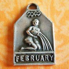 Vintage 1940's FEBRUARY AQUARIUS ZODIAC Art Deco Silver Plated Charm ~ ENGRAVED