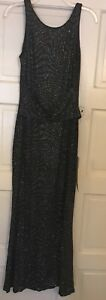 Macy's beaded gown black/blue size 12