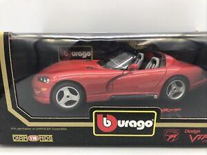 1/18 Bburago 1992 Red Dodge Viper RT/10 JM Part # 030252