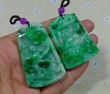 Vintage Natural Type A Emerald Jadeite Jade Antique Pendant(Pair)