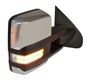 For 07-13 Silverado Sierra Power Fold Chrome Tow Mirror Power+Heated+LED Signal