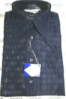 VTG Burma Mens Shirt 1970s Disco LS Sheer Navy Blue Nylon Lace NOS  S,M or L